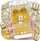 Gold glitter bowknot keyboard