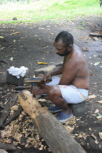 Photo: Ranon village, Ruben showing us how to carve a Tam Tam
