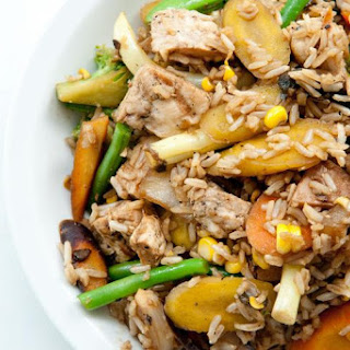 Chicken Stir-Fry with Vegetables and Brown Rice.