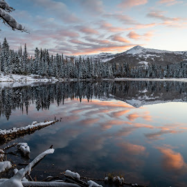 Silver Lake Sunrise  by Brandon Montrone - Landscapes Sunsets & Sunrises ( sunrise, reflection, nature, snow, winter, dawn, scenic, lake, trees, landscape )