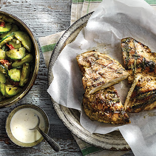White Barbecue Chicken and Grilled Cucumber Salad