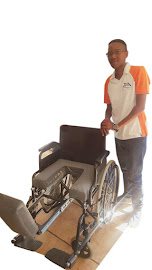 Portia Mavhungu with a wheelchair fitted with a Para Tube.