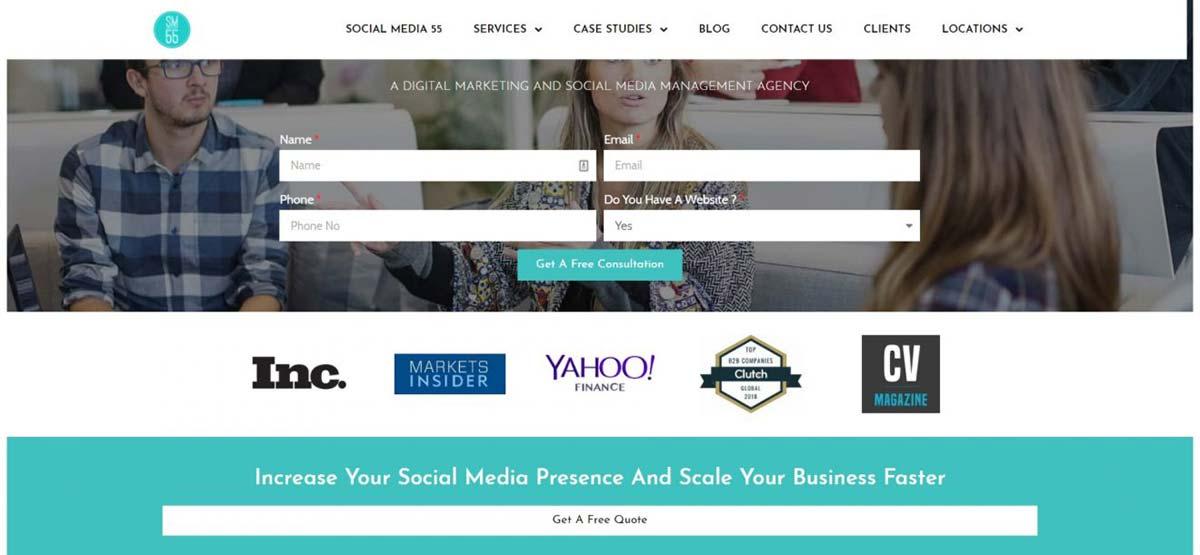 Site da empresa especializada em propagandas em redes sociais Social Media 55