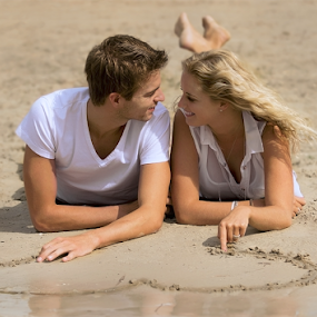 Love by Azzeria Photography - People Couples ( water, inlove, sand, heart, love couples sand beach water heart wet sunny happy inlove cute charming drawing a heart, photo shoot, beach, young couple, cute, in, photography, drawing, love, charming, azzeria, happyk, sunny, couple, photoshoot, assen )