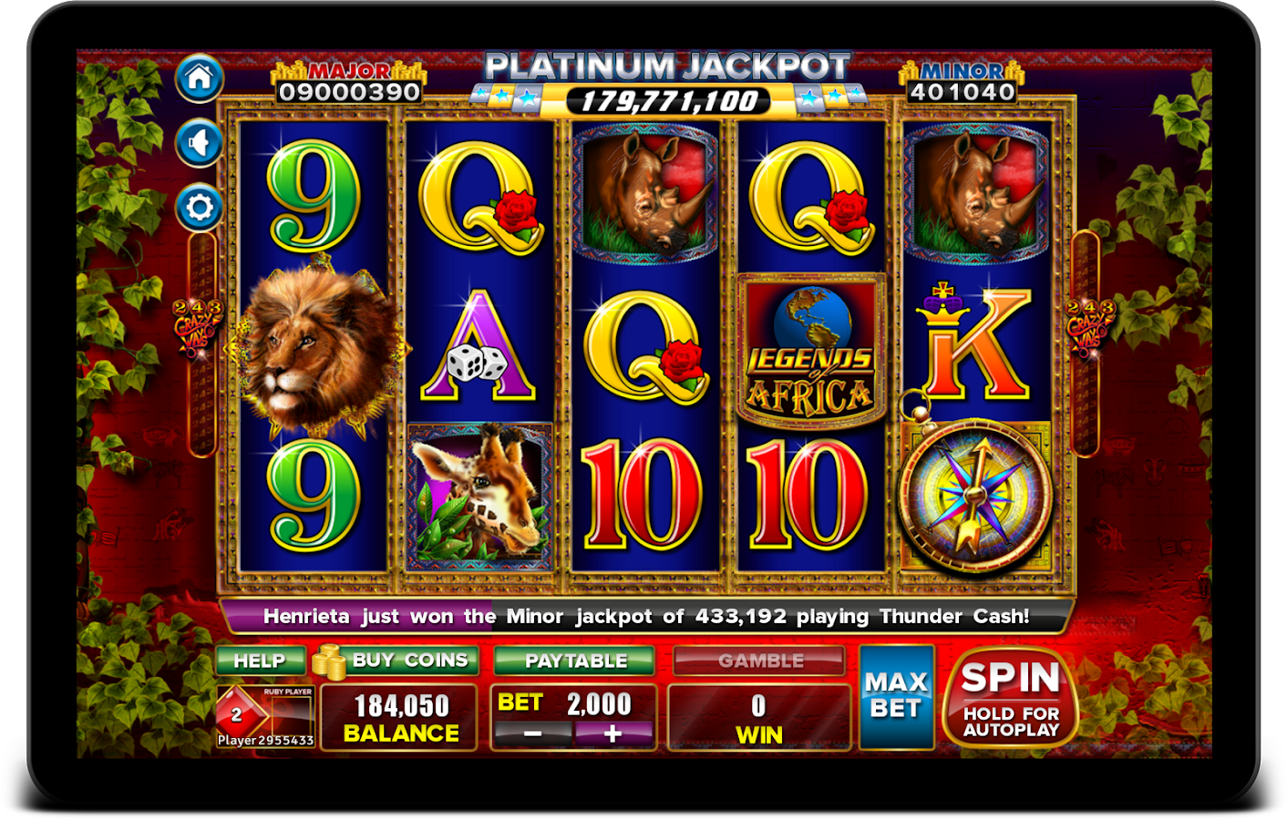 ainsworth players paradise slots