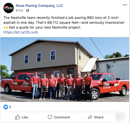 rose paving facebook VisualFizz's Best Marketing Advice for Industrial and Construction Brands