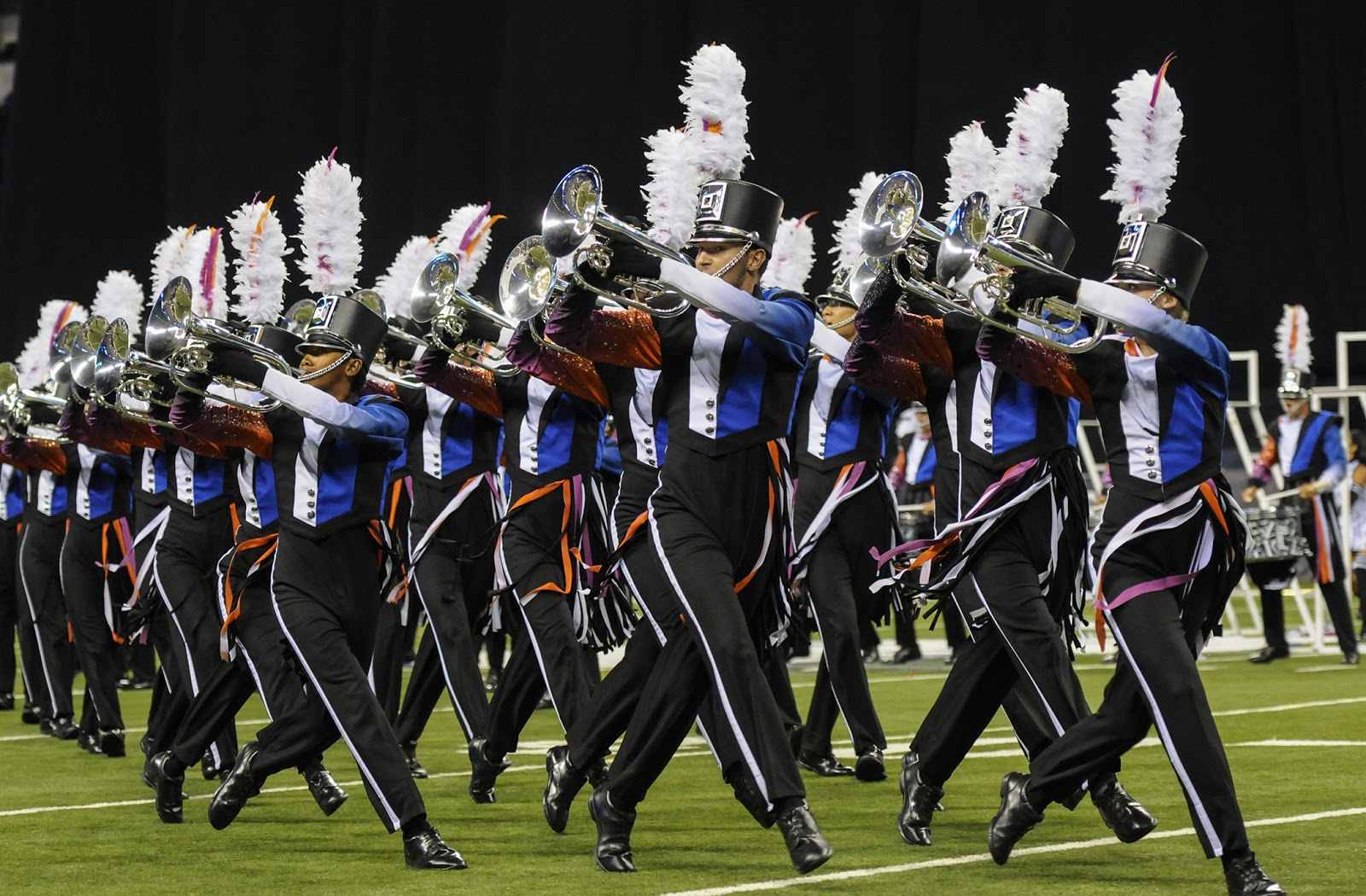 The Blue Devils Drum and Bugle Corps performs at the 2015 Drum Corps International World Championship Finals, Saturday, August 8, 2015, at Lucas Oil Stadium in Indianapolis.