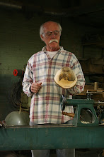 "Photo: And in no time, there is the completed bowl. He even demonstrated adding two ""stitches"" with a biscuit joiner to simulate the procedure for reinforcing a crack.  Turning green wood is so much fun and so rewarding.  Thanks for the great show, Jerry!"