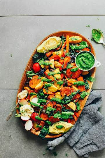 Roasted Vegetable Salad with Chimichurri | Minimalist Baker Recipes