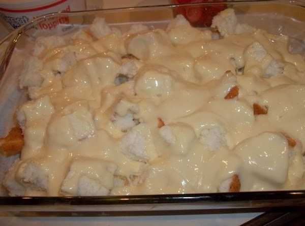 Cream together cream cheese & sweetened condensed milk and drizzle over the pieces of...