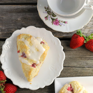 Strawberry Sour Cream Scones with Lemon Icing.