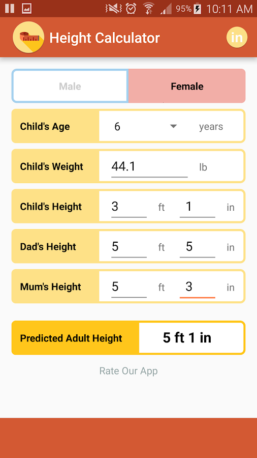Height Calculator- screenshot