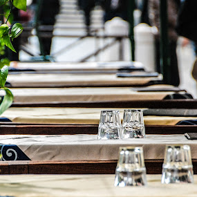 Two Glasses Too by Becki Abrisz - Food & Drink Eating ( glasses, venice, eating, table, lunch,  )