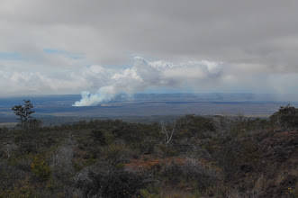 Photo: Behind us rises the plume from Kilauea Volcano's active summit. So huge are these volcanoes that their summits appear flat.