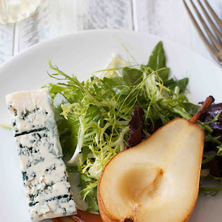 Roasted Pear and Roquefort Salad with Champagne Vinaigrette and Caramel