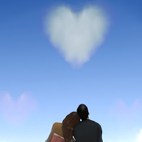 Romantic Couple Looking Up at a Heart Shaped Cloud by Emily Fnm3d - Digital Art People ( concept, gift, fluffy forever, pair, beauty, imagination, space, valentine, romance, people, together, love, clear, tranquil, sky, woman, idyllic, couple, bride, passion, marry, man, copy, abstract, heart, symbol, heaven, greeting, white, romantic, happiness, shape, fun, marriage, sign, two, tenderness, 3d, blue, background, cloud, summer, air, groom, shaped )
