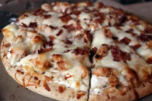 """Chicken Bacon Ranch Pizza """"Not only is it yummy, it makes 2..."""