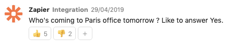 Message to know who is coming to Paris office tomorrow
