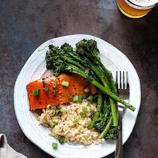 Teriyaki Salmon and Broccolini with Crushed Black Sesame