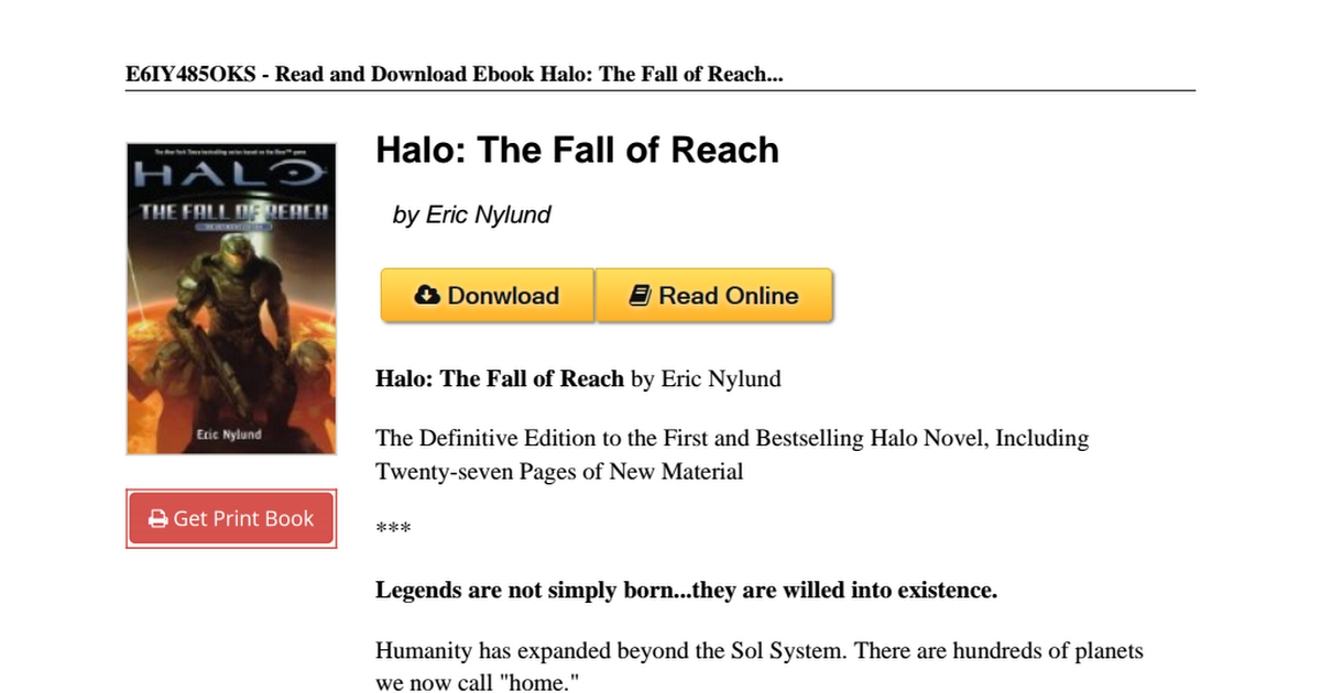 Halo Fall Reach Eric Nylund 0765328321pdf Google Drive