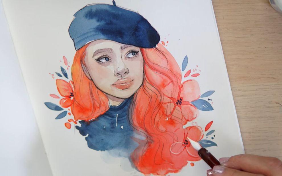 watercolor red head girl in beret