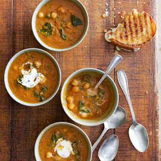 Tomato Soup with Chickpeas and Spinach.