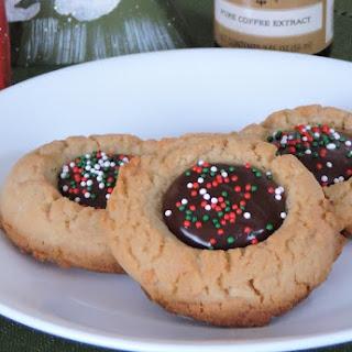 Mocha Filled Thumbprint Cookies.