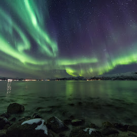 Aurora reflections by Benny Høynes - Landscapes Waterscapes ( canon, colorful, northern lights, aurora borealis, landscapes, norway,  )