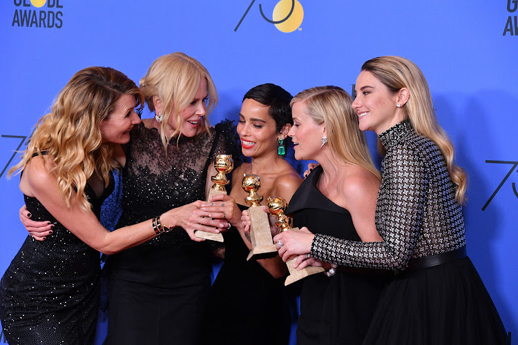 Actors Laura Dern, Nicole Kidman, Zoe Kravitz, Reese Witherspoon and Shailene Woodley of 'Big Little Lies,' winner of the award for Best Television Limited Series at the Golden Globes