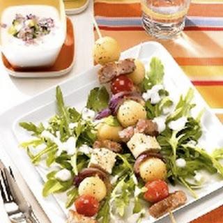 Mini-Kartoffelknödel-Fleisch-Spieße