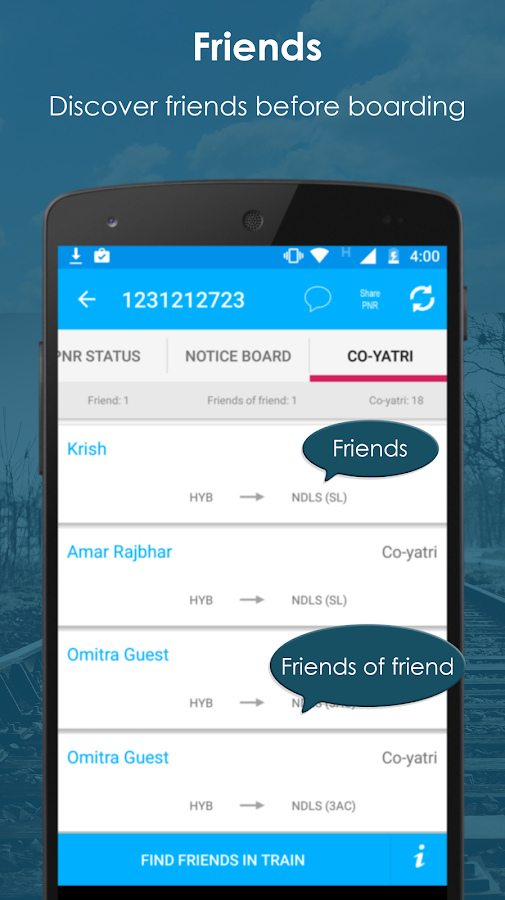 OMitra - Rail Chat for Passenger, Discover Friends- screenshot