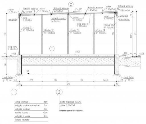 GB30 Garaż Blaszany - Przekrój A-A