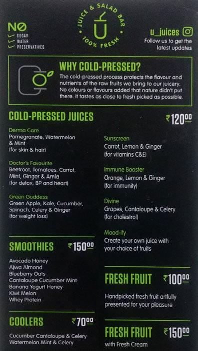 U Juice & Salad Bar menu 1