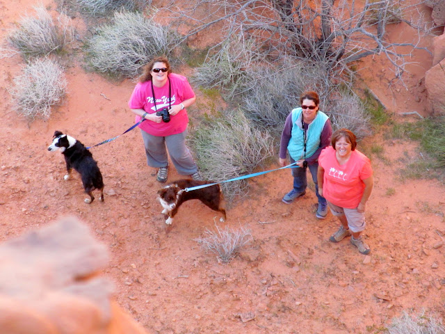 Traci, Sherie, and Pam with Bosley and Charlie below