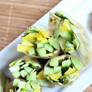 Mango, Cucumber & Zucchini Summer Rolls with Sunflower Seed Butter Dipping Sauce