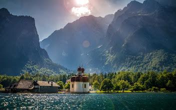 Photo: St. Bartholomä at the #Koenigssee in the #nationalpark #BerchtesgadenerLand  - #Berchtesgaden #Königssee #Bartholomä #kirche #church #lake #Watzmann #mountain #Berge #Alpen #Alps #Bayern #Bavaria