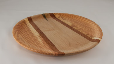 "Photo: Ilya Zavorin 12"" x 1 1/2"" segmented platter [maple, mahogany, hone locust]"