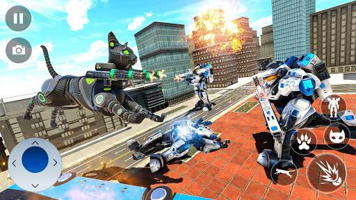 Cat Robot Car Transformation War Robot Games  screenshots 16