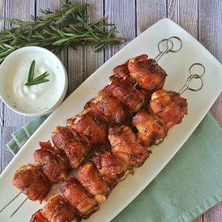 Bacon Wrapped Chicken Skewers.