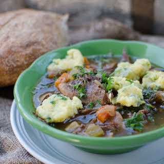 Oxtail Soup with Parmesan Herbed Dumplings.