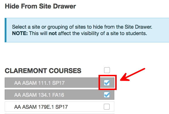 Image showing the Sakai Preferences tool with a box and arrow indicating the checkbox that users can click in order to hide a site from view.