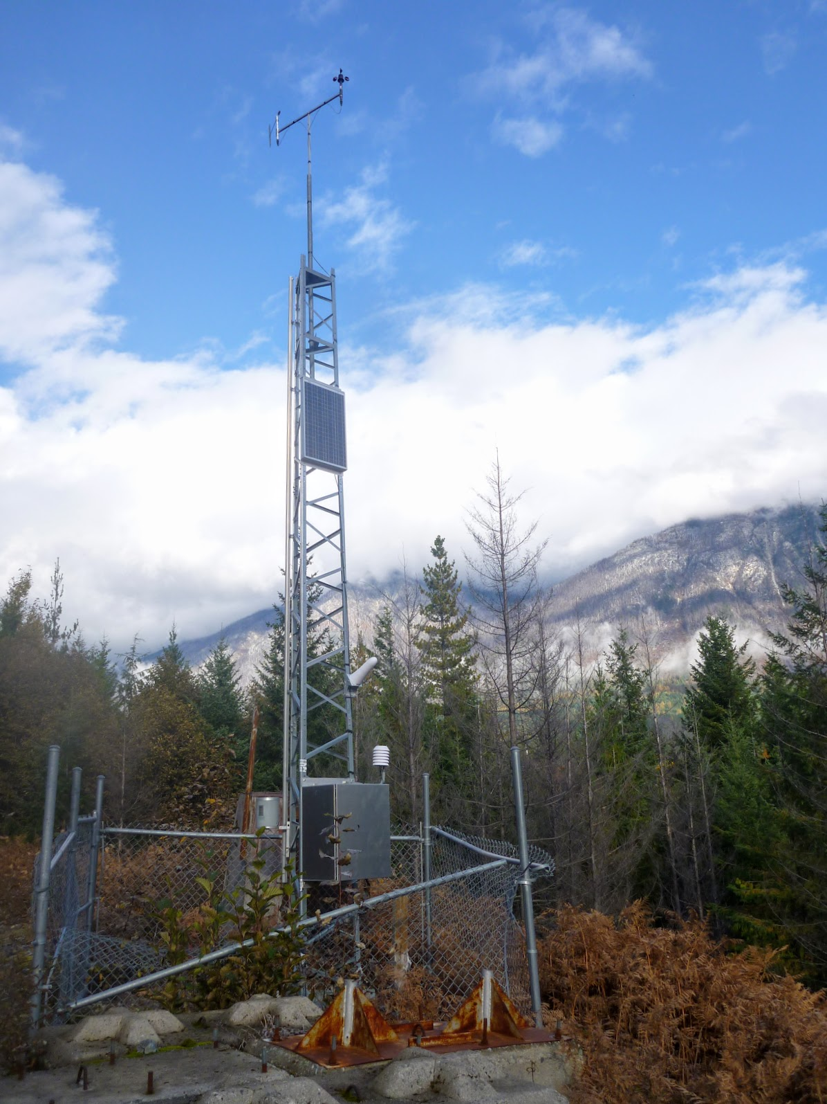There was a weather station on the logging road.