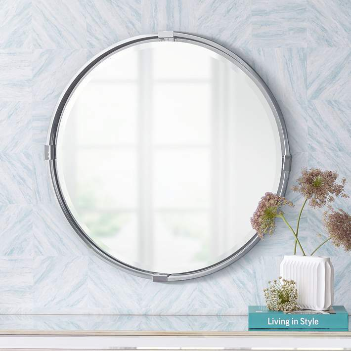 silver round mirror large for interior design trends 2020