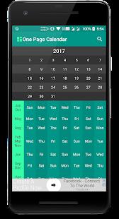 One Page Calendar - náhled