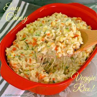 Cheesy Fresh Corn, Carrot & Basil Zucchini Rice