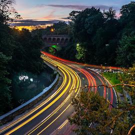 Rock Creek Parkway by Hugh Clarke - Transportation Roads ( dc, traffic, light trails, long exposure, lighttrails, washington dc, rock creek parkway )