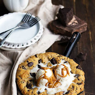 Peanut Butter Chocolate Chunk Skillet Cookie.