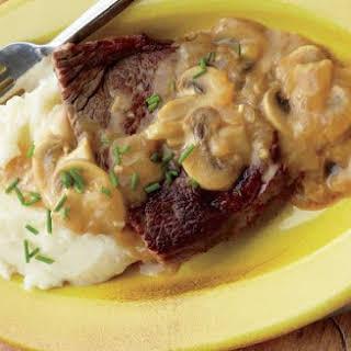 Strip Steak With Mushroom-mustard Sauce.