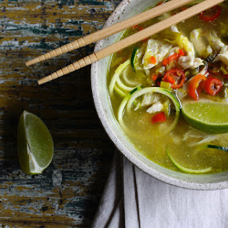 Chicken Pho with Raw Zucchini Noodles