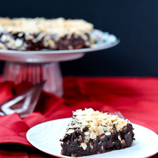 Flourless Chocolate Cake with Ganache and Toasted Coconut